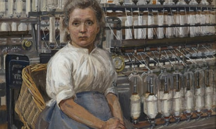 A detail from Sylvia Pankhurst's In a Glasgow Cotton Mill: Minding a Pair of Fine Frames, 1907