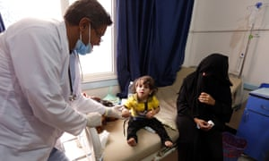A cholera-infected Yemeni child receives treatment at a hospital amid a serious outbreak in Sana'a.