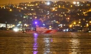 A police boat patrols the Bosphourus near the Reina nightclub.
