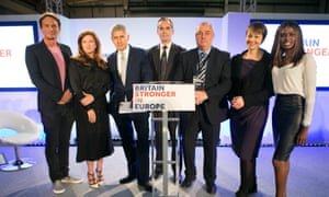 The launch of the Britain Stronger in Europe campaign with, from left: Richard Reed, Karren Brady, Stuart Rose, PR man Roland Rudd, Brendan Barber, Caroline Lucas and June Sarpong.