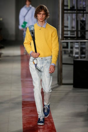 5cb8bdf40be A model on the catwalk at the MSGM show during Milan men s fashion week