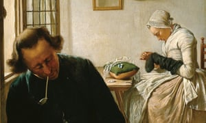 'Man sleeping with woman darning socks' by Wybrand Hendriks, 1820
