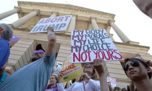 Pro-choice advocates rally in front of Georgia's Capitol in Atlanta.