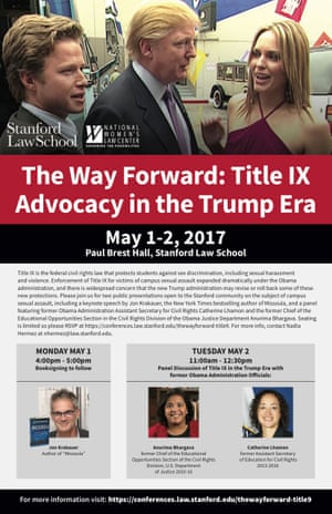 The flyer for the conference on sexual assault that used an image of Trump taken from the infamous Access Hollywood tape.