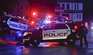 Emergency vehicles block off the McAnulty Acres apartment complex in South Baldwin, on Saturday.