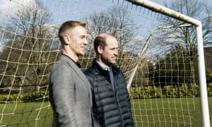 Prince William with Joe Hart during filming of the documentary Football, Prince William and our Mental Health, which was broadcast on BBC One in May 2020.