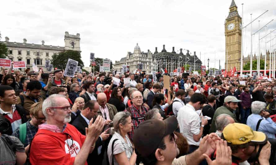 Labour supporters show their support for Jeremy Corbyn in Parliament Square earlier this week.
