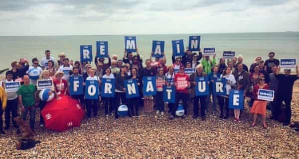 Environmentalists for Europe's beach party in Brighton. E4E was founded by Stanley Johnson, former father of Boris.