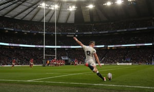 England's Owen Farrell takes a conversion during the Six Nations match against Wales in March. The RFU is the richest rugby union but has been hit hard by Covid-19.