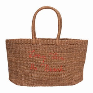 "rafia tote bag, red slogan writing ""'ong live the beach'"