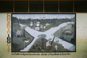 Graffiti in Santa Maria de Nieva remembering International Labour Organization convention 169