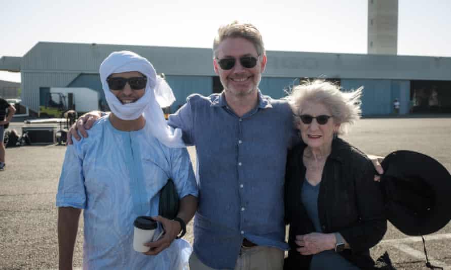 Mohamedou Ould Slahi, left, with the film's director, Kevin Macdonald, and Slahi's lawyer, Nancy Hollander.