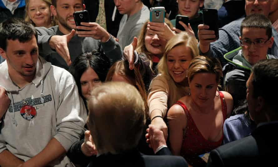 Donald Trump greets supporters in Wisconsin, March 2016
