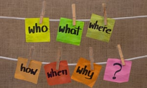 Who, what, where, why, how, when questions on sticky notes