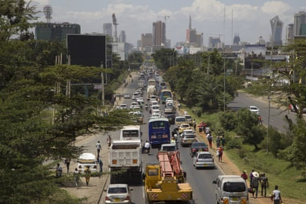 A congested road on the outskirts of Nairobi, Kenya.