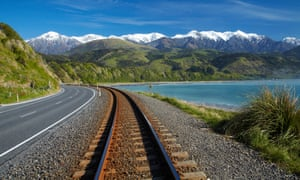 The view to Seaward Kaikoura Ranges on New Zealand's South Island. Shaun Hendy ditched planes for a year, in favour of trains and electric cars.