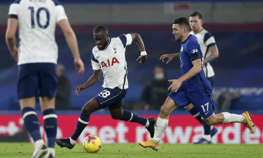 Tanguy Ndombele in action for Spurs at Chelsea