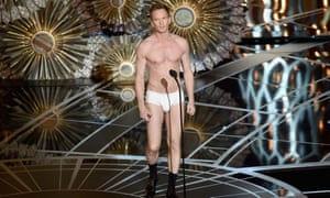 Host Neil Patrick Harris stands unclothed onstage