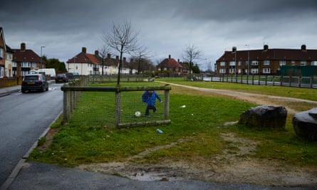KNOWSLEY, 23 December 2016 - Boys playing on Pennard Avenue in Knowsley borough, one of the most deprived council areas in the country and now the only authority where no schools offer A-level courses. **parental permission granted. 69 Pennard Ave** Christopher Thomond for The Guardian.