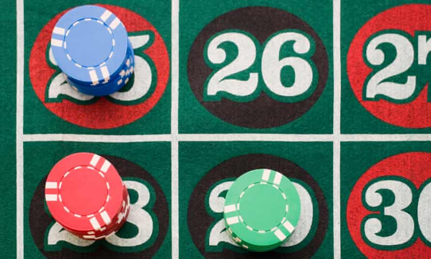 Close up of bets on roulette table