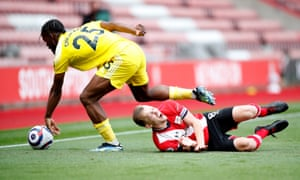 James Ward-Prowse feels the challenge from Fulham's Josh Onomah.