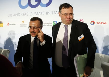 Amin Nasser, president and CEO of Saudi Aramco, left, and Patrick Pouyanné, CEO of Total