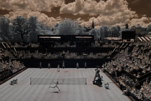 Garbine Muguruza volleys during her victory over Angelique Kerber on Court Two on day seven of the 2017 Wimbledon tennis championships, shot with an infra-red camera.