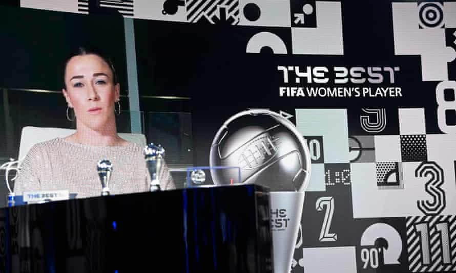 Lucy Bronze accepts her award by video link.