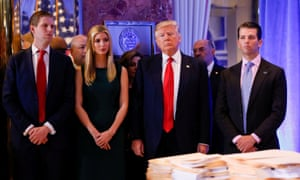 The Trump family in Trump Tower in 2017. The provision will stop Trump's private business, run by his sons, Eric and Don Jr, from benefiting from any cash giveaway.