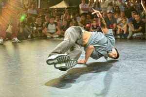 Victor Montalvo from the US performs on the stage of the men's breakdance final at the World Urban Games in Budapest, Hungary