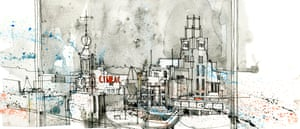 The skyline of Amsterdam as drawn by Simone Ridyard of Urban Sketchers