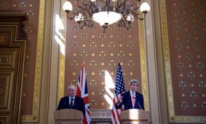 UK foreign secretary Boris Johnson with his US counterpart John Kerry in London on Tuesday.