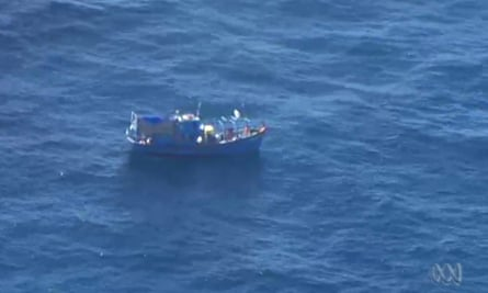 An image taken from ABC news footage of the suspected asylum seeker vessel about 145km off the coast of Western Australia on Monday.