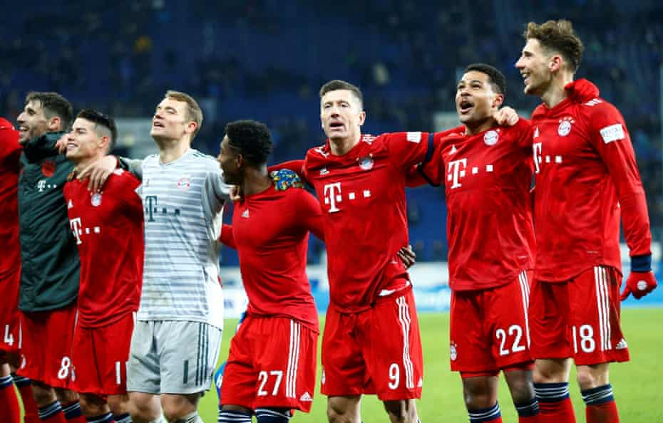 Bayern celebrate in front of their fans after the match.