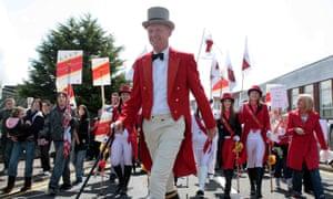 Protesters dressed as Johnnie Walker in Kilmarnock