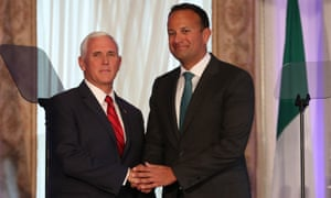 Mike Pence and Leo Varadkar at a press conference in Dublin.