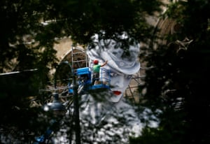 Workers prepare the stage for the 24th Life Ball charity event in Vienna, Austria