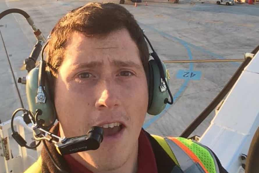 Richard Russell at his job as a ground service agent.