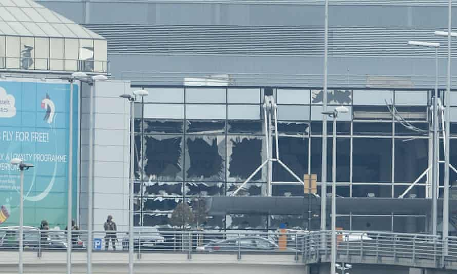 The damage to the front of Zaventem airport.