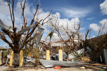 Debris in the Codrington lagoon, Barbuda