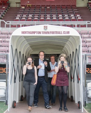 Mark Lawson (second left) at the press day for The Twelfth Player at Northampton Town's Sixfields stadium