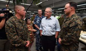 Scott Morrison meets with US Marines at Robertson Barracks in Darwin on Wednesday.