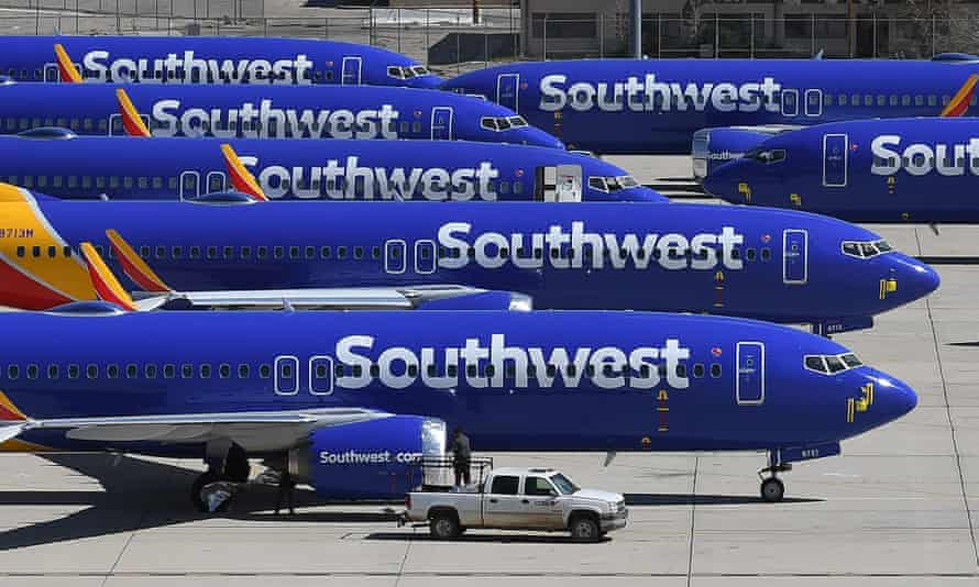 Southwest Airlines Boeing 737 Max aircraft parked in southern California after being grounded