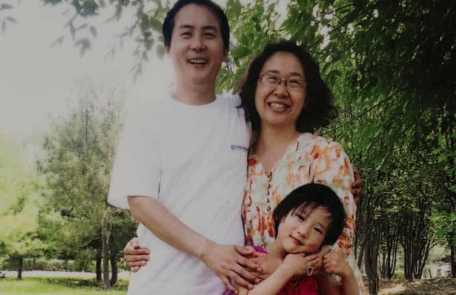 A photo of imprisoned lawyer Li Heping, hi wife Wang Qiaoling and daughter Li Jia We at home in Beijing.