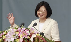Taiwan's President Tsai Ing-wen waves as she delivers an acceptance speech during her inauguration ceremony in Taipei.