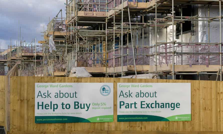 Persimmon construction site with posters saying 'ask about help to buy'