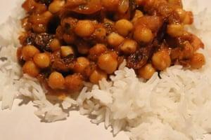 My six-ingredient, six-step fruity tikka masala with basmati rice.