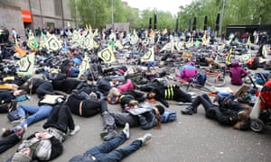 Extinction Rebellion activists staging a 'die' in outside the Tate Modern at the weekend.
