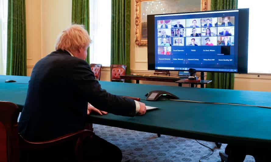 Boris Johnson before the House of Commons Liaison Committee via video link