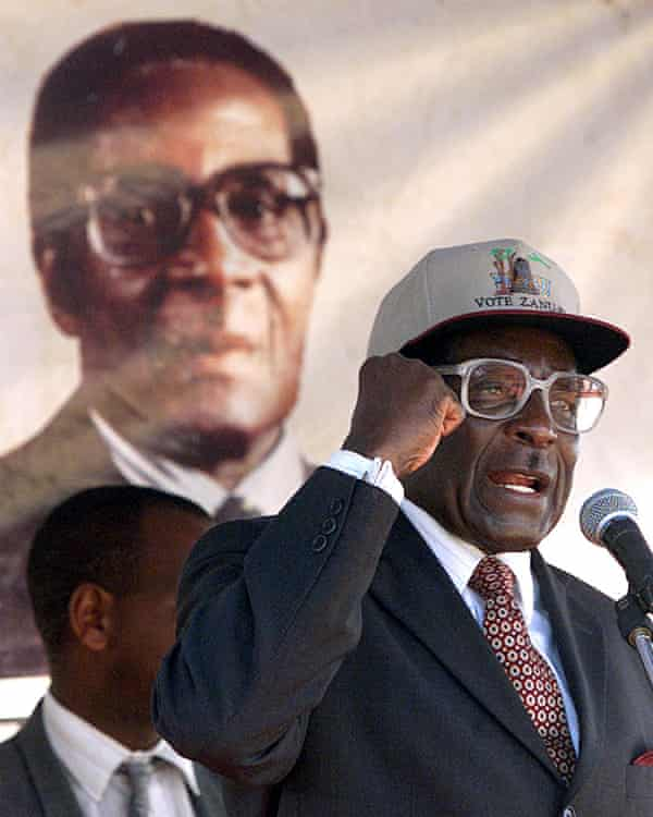 Zimbabwean president Robert Mugabe at an electoral rally in 2000.